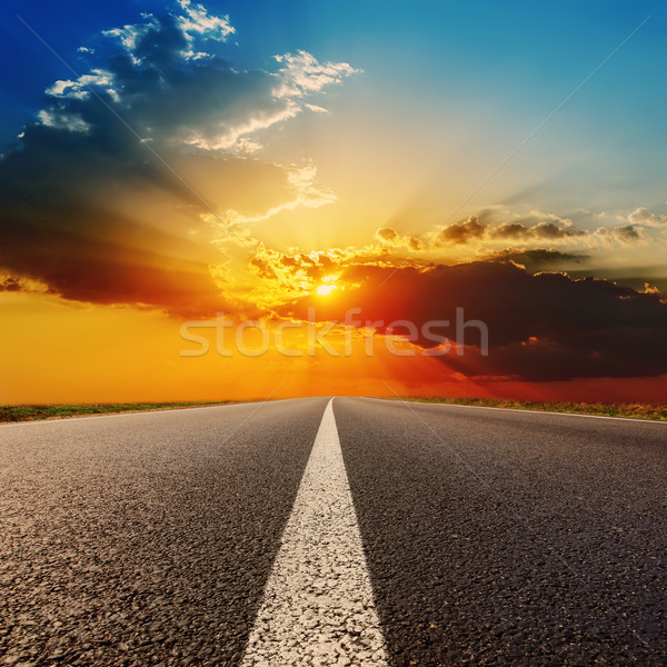 road to dramatic sunset Stock photo © mycola