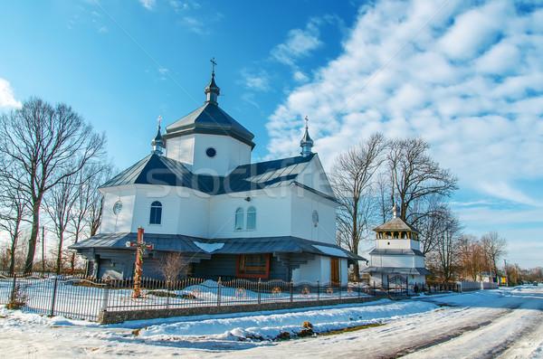 Velho ortodoxo igreja inverno Ucrânia casa Foto stock © mycola