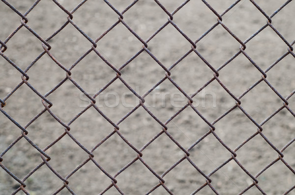 rusty wire netting as background over earth Stock photo © mycola