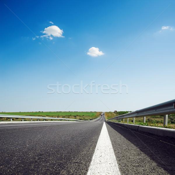 asphalt road to horizon in blue sky Stock photo © mycola