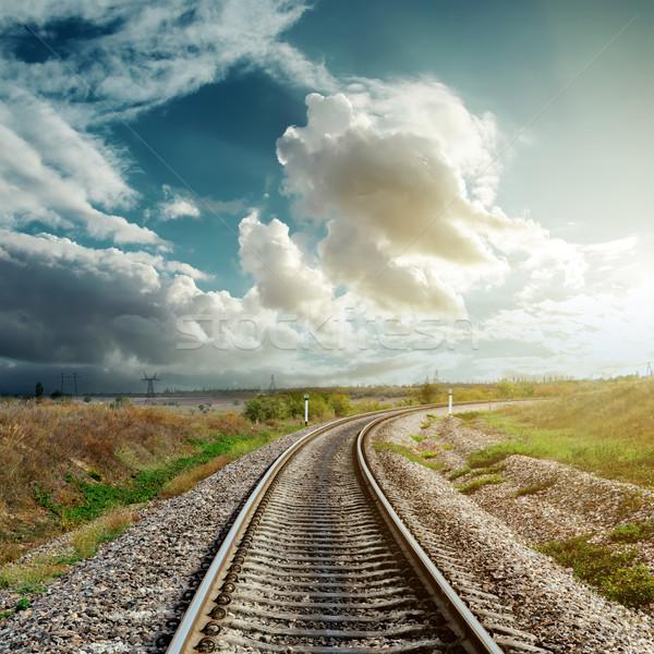 Ferrovia nublado horizonte céu sol abstrato Foto stock © mycola