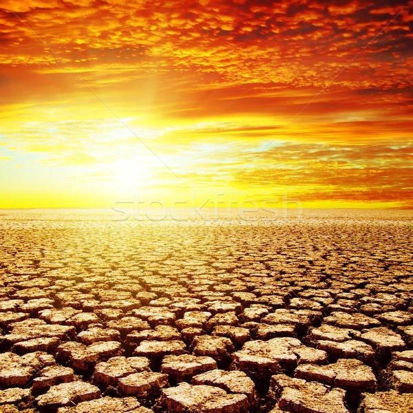 Vermelho pôr do sol seca terra sol paisagem Foto stock © mycola