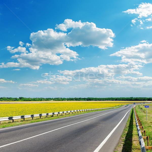 Iyi manzara asfalt yol bulutlar gökyüzü Stok fotoğraf © mycola
