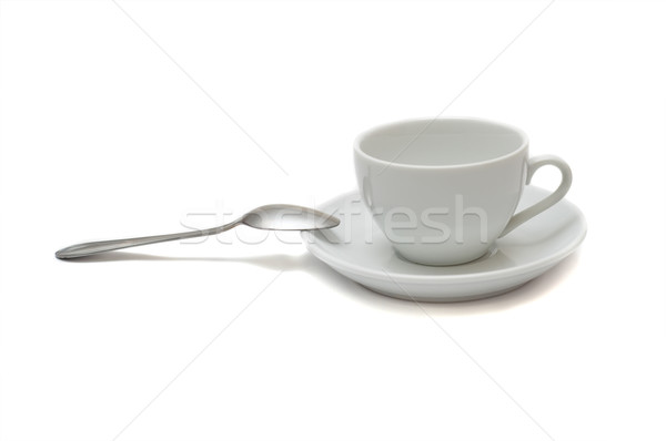 Blanche tasse cuillère soucoupe isolé café Photo stock © mycola