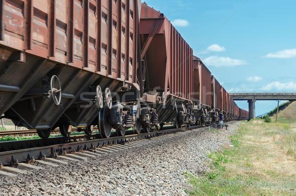 wagons of a freight train in motion go to horizon under bridge Stock photo © mycola