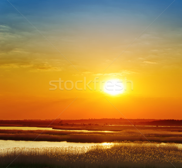 Stock fotó: Piros · naplemente · folyó · égbolt · nap · tájkép