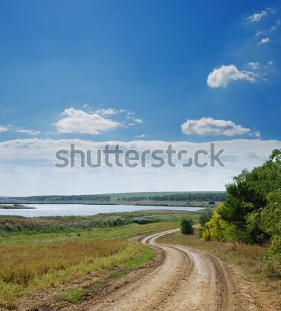 Wiejski drogowego horyzoncie mętny niebo drzewo Zdjęcia stock © mycola
