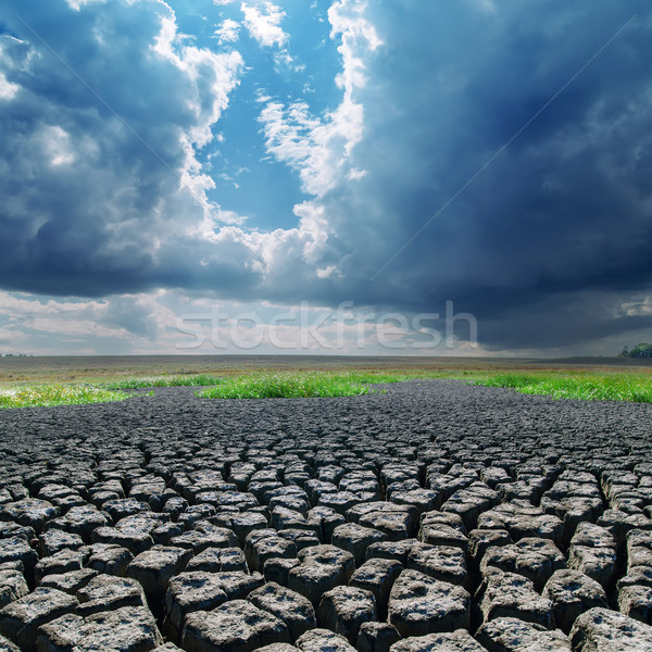 global warming. cracked earth and dark clouds Stock photo © mycola