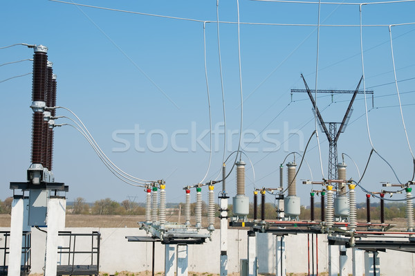 part of high-voltage substation with switches and disconnectors Stock photo © mycola