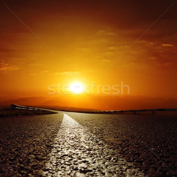 Aszfalt út piros naplemente nap absztrakt Stock fotó © mycola