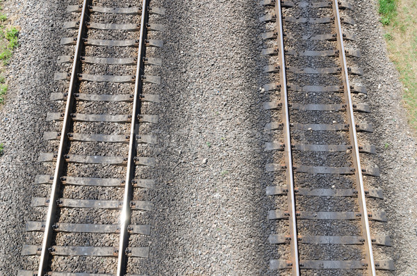 two parallel railroads. aerial view Stock photo © mycola