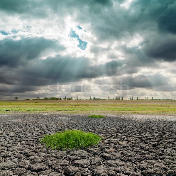 Drámai égbolt repedt Föld nap tájkép Stock fotó © mycola