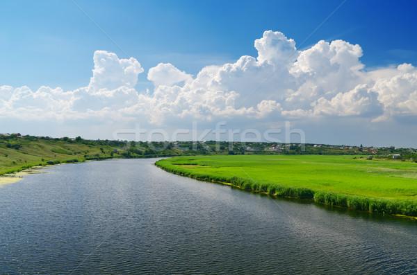 Nuageux ciel rivière herbe beauté belle Photo stock © mycola