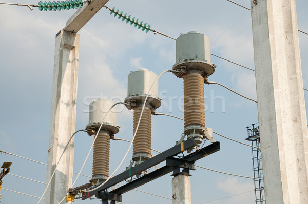 general view to high-voltage substation with switches and discon Stock photo © mycola
