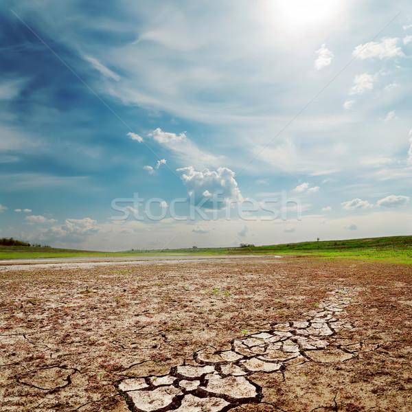 Bewolkt hemel droogte grond textuur zon Stockfoto © mycola