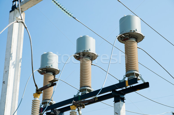 part of high-voltage substation with switches Stock photo © mycola