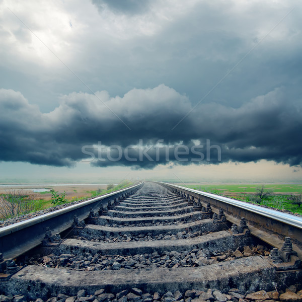 Spoorweg horizon regenachtig wolken hemel Stockfoto © mycola