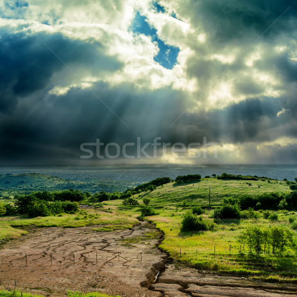 dark dramatic sky over mountain with erosion Stock photo © mycola