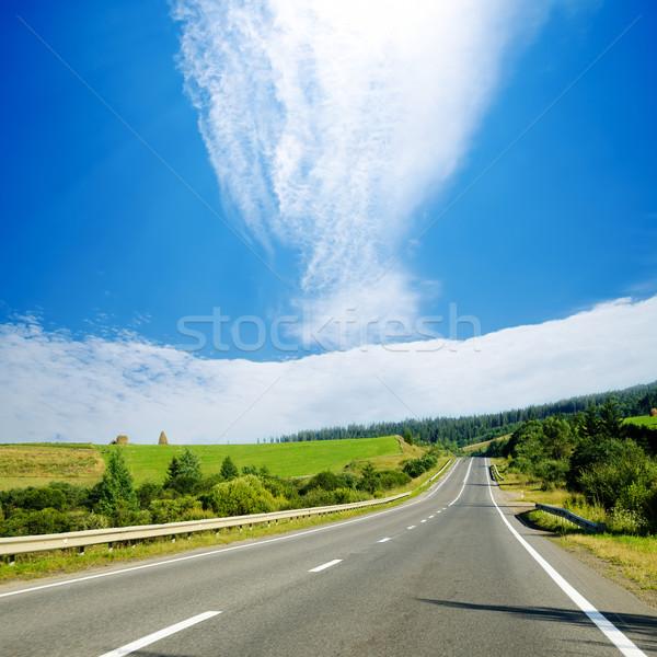 road in mountain under cloudy sky. Ukrainian Carpathians Stock photo © mycola