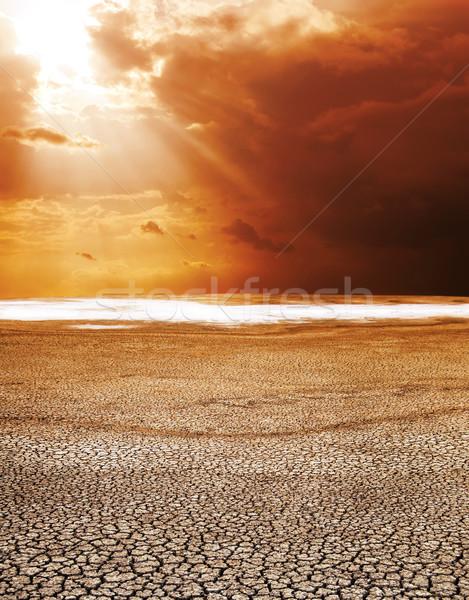 Droogte grond hot zon licht woestijn Stockfoto © mycola