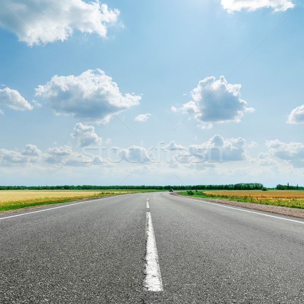 Asfalt yol beyaz hat bulutlu ufuk Stok fotoğraf © mycola