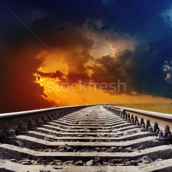 railroad goes to dramatic sunset Stock photo © mycola