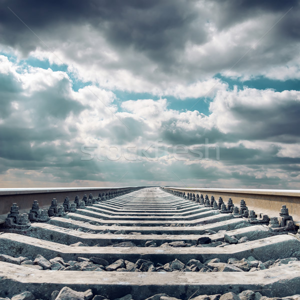 railroad close up to horizon under dramatic sky Stock photo © mycola