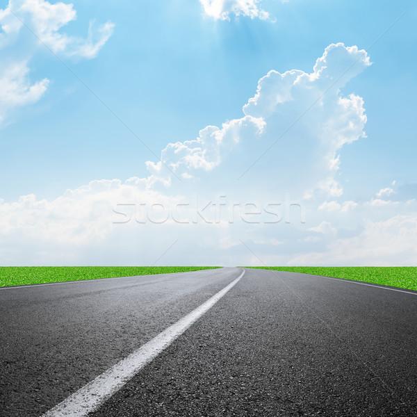 асфальт дороги горизонте облака небе свет Сток-фото © mycola