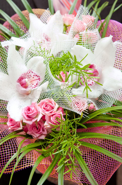 wedding bouquet with rose and orchid Stock photo © mycola