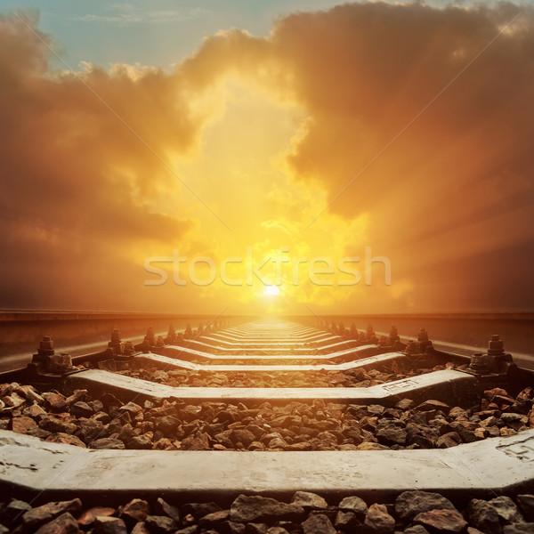 Pôr do sol dramático céu ferrovia sol abstrato Foto stock © mycola