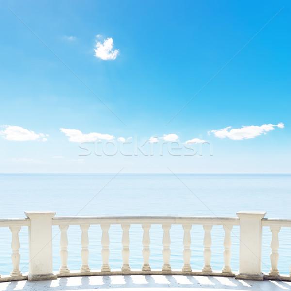 белый балкона терраса морем Blue Sky пляж Сток-фото © mycola