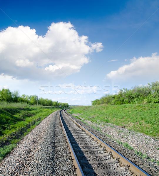 Kolej żelazna horyzoncie zielone krajobraz niebo tle Zdjęcia stock © mycola