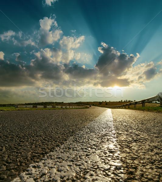 Aszfalt út közelkép naplemente nap absztrakt Stock fotó © mycola