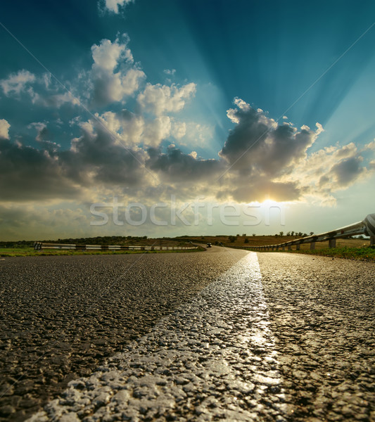 asphalt road closeup to sunset Stock photo © mycola