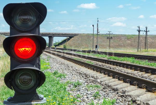 red semaphore near railroad Stock photo © mycola