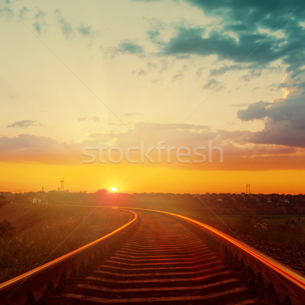 good orange sunset over railroad to horizon Stock photo © mycola
