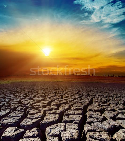 Desierto naranja puesta de sol textura paisaje tierra Foto stock © mycola