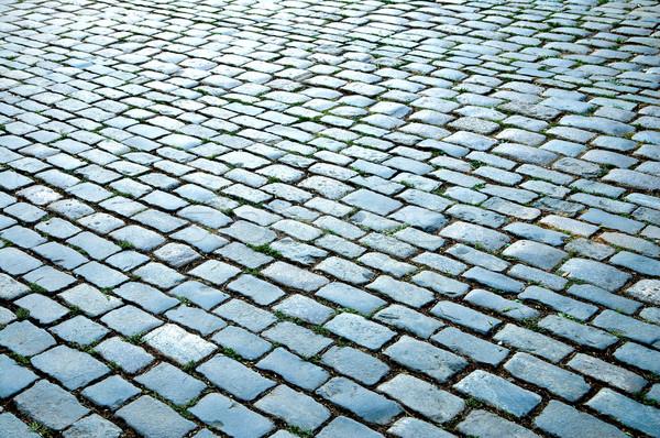 Stockfoto: Weg · straat · zwarte · vloer · baksteen · architectuur