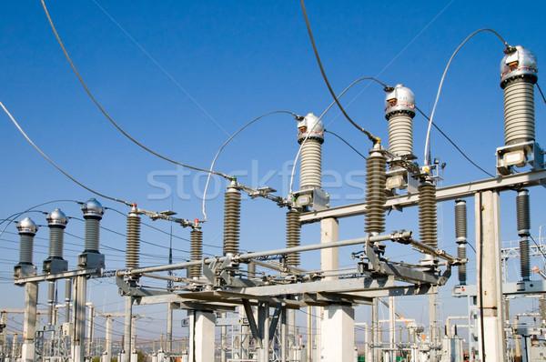Centrale électrique ciel bleu switch réseau usine industrielle Photo stock © mycola