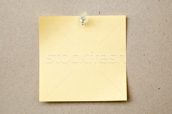 yellow color note paper with pin Stock photo © mycola