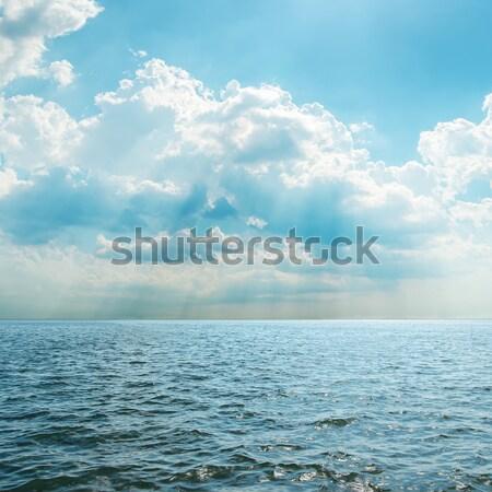 Niebieski morza mętny niebo krajobraz tle Zdjęcia stock © mycola