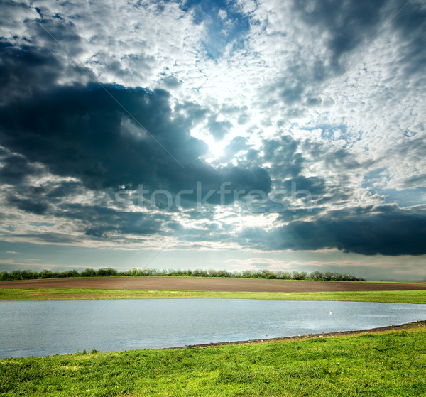 view to overcast landscape with pond Stock photo © mycola