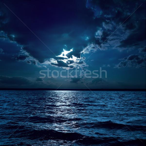 moon light over darken water in night Stock photo © mycola