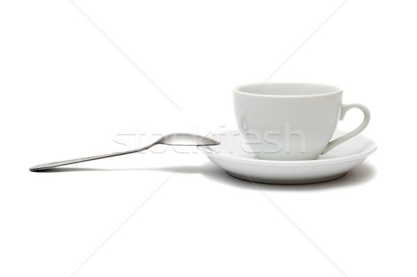 белый Кубок ложку блюдце изолированный кофе Сток-фото © mycola