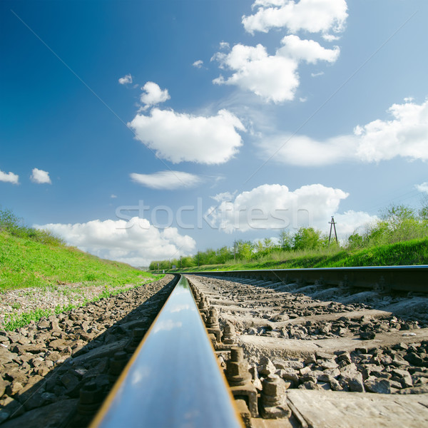 railroad close up and clouds over it Stock photo © mycola