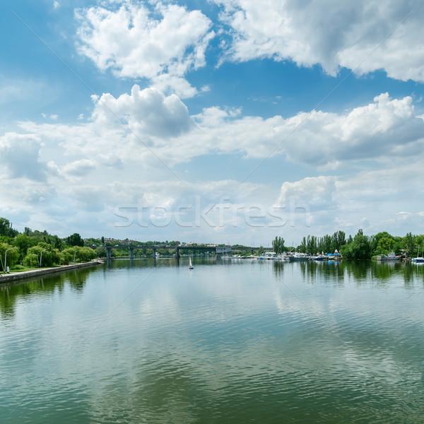 Ver rio nuvens blue sky céu água Foto stock © mycola
