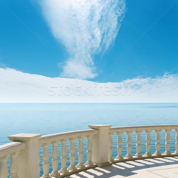 Erkély tenger felhős égbolt víz tájkép Stock fotó © mycola