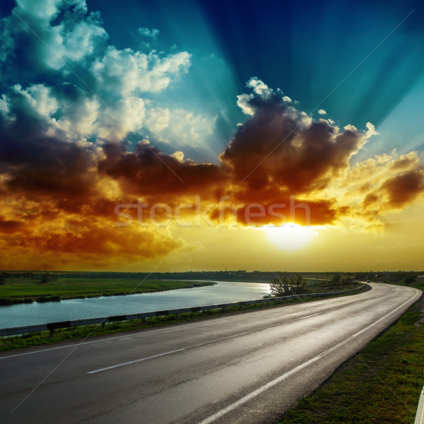 fantastic dramatic sunset over asphalt road Stock photo © mycola