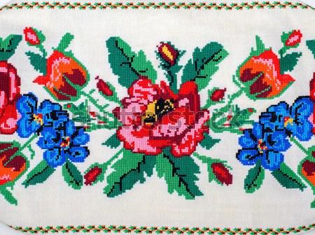 embroidered good by cross-stitch pattern. ukrainian ethnic ornam Stock photo © mycola