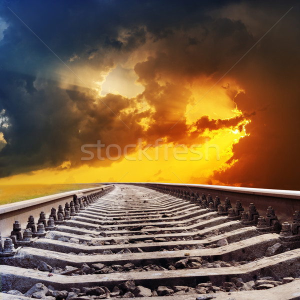 railroad to dramatic sunset Stock photo © mycola